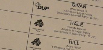Ballot paper showing Brenda Hale with UUP instead of DUP candidate logo
