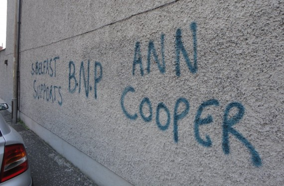Graffiti on gable wall off Donegal Road - S. Belfast Supports BNP Ann Cooper