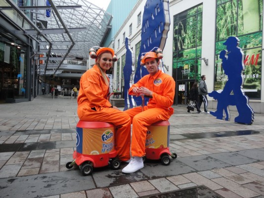 Fanta promotion crew outside Victoria Square
