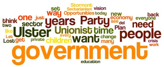 Mike Nesbitt speech to 2012 UUP conference - via wordle.net