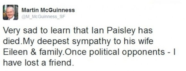 Tweet by Martin McGuinness, Deputy First Minister