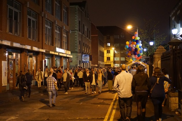 Crowds thronging the Streets of the Cathedral Quarter on Culture Night 2014