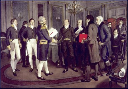 Amedee Forestier's 1914 painting of diplomats in Ghent in 1814.