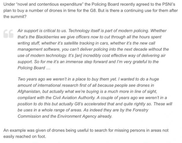 Matt Baggott drones blog post snippet