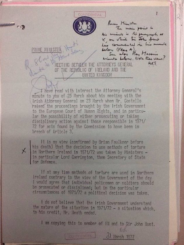 Letter from Home Secretary Merlyn Rees to Prime Minister Jim Callaghan in 1977, when the UK was (successfully)arguing in Strasbourg that the techniques used were not torture