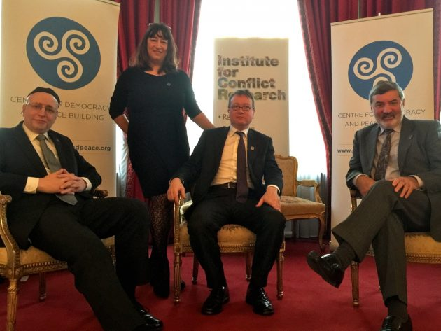 Daniel Greenberg, Katy Radford (Institute for Conflict Research), John Larkin (Attorney General for Northern Ireland) and John Alderdice (with apologies to Eva Grosman (Centre for Democracy and Peace Building)).