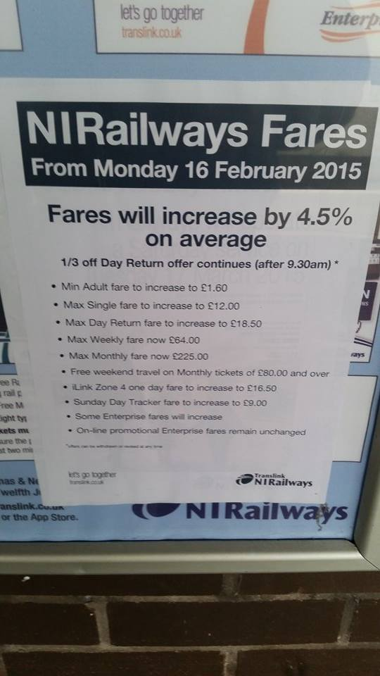 NI Railways fare poster