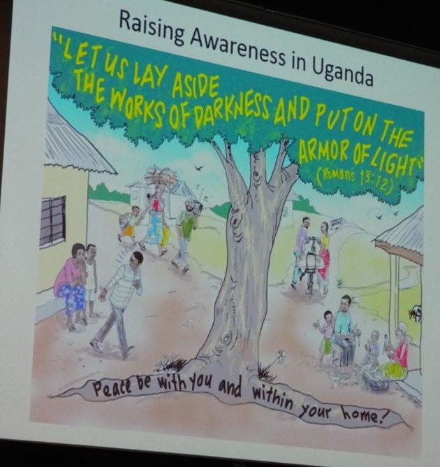 Monica McWilliams raising awareness in Uganda