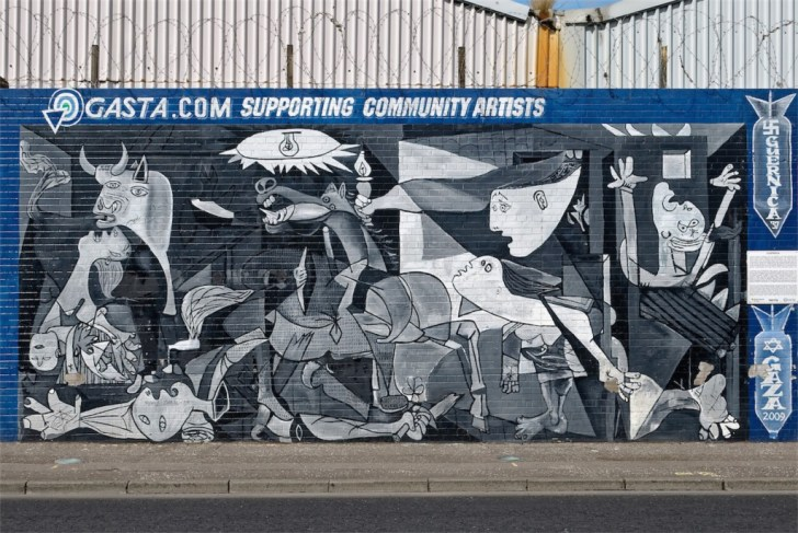 A recreation of Picasso's Guernica. Lower Falls, West Belfast.