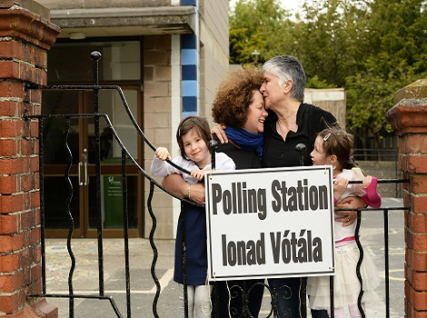 22/05/2015 NEWS ./Referendum Linda Cullen and Feargha Ni Bhroan with twins,Tess and Rosa CullenByrne after voting voting in Monkstown polling station in the referenedums, yesterday. .Photograph: Cyril Byrne / THE IRISH TIMES