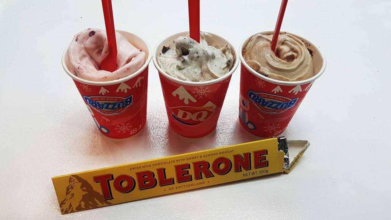 Strawberry toblerone blizzard, chocolate chip toblerone blizzard, and double fudge toblerone blizzard