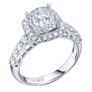 MyDiamond Dream Collection: 14K White Gold Halo Ring with 39 pieces .95 carats White Side Stones