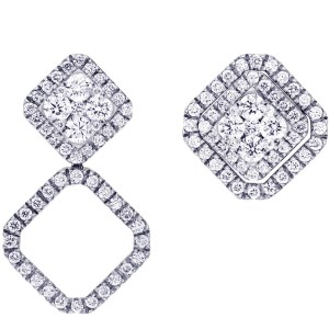MyDiamond Dream Collection: Multiwear 18K White Gold Halo Earrings with 106 pieces 0.98 carats diamonds