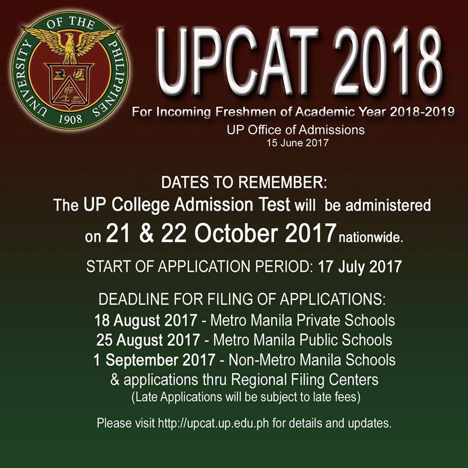 UPCAT 2018 schedule