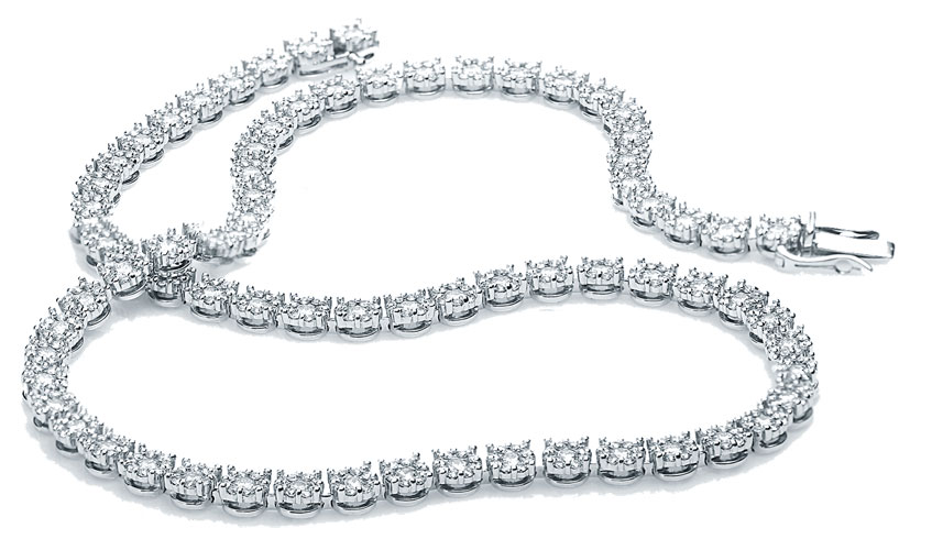MyDiamond 18K White Gold Tennis Necklace with 70 pieces 6.15 Carat Diamonds
