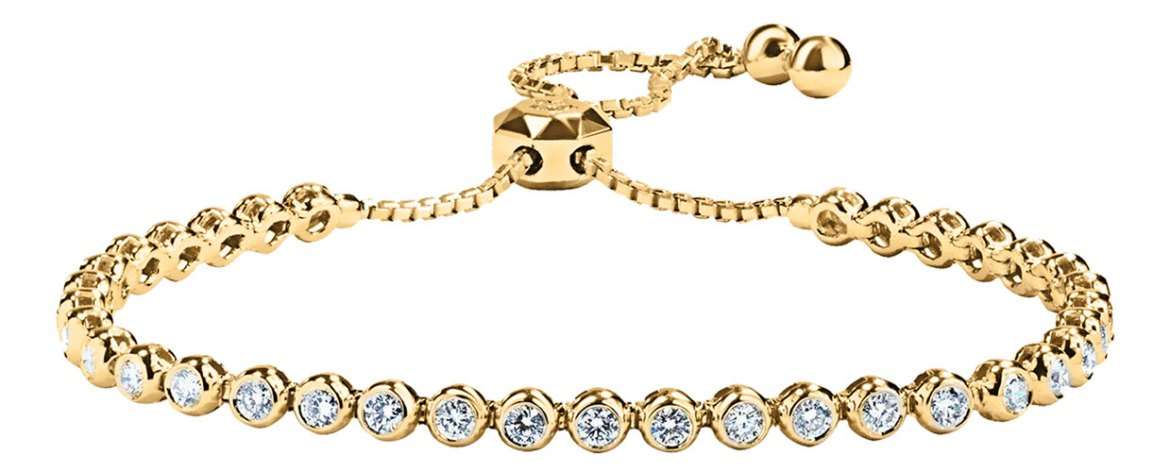 MyDiamond 18K Yellow Gold Adjustable Tennis Bracelet with 35 pieces 2.1 Carat Diamonds
