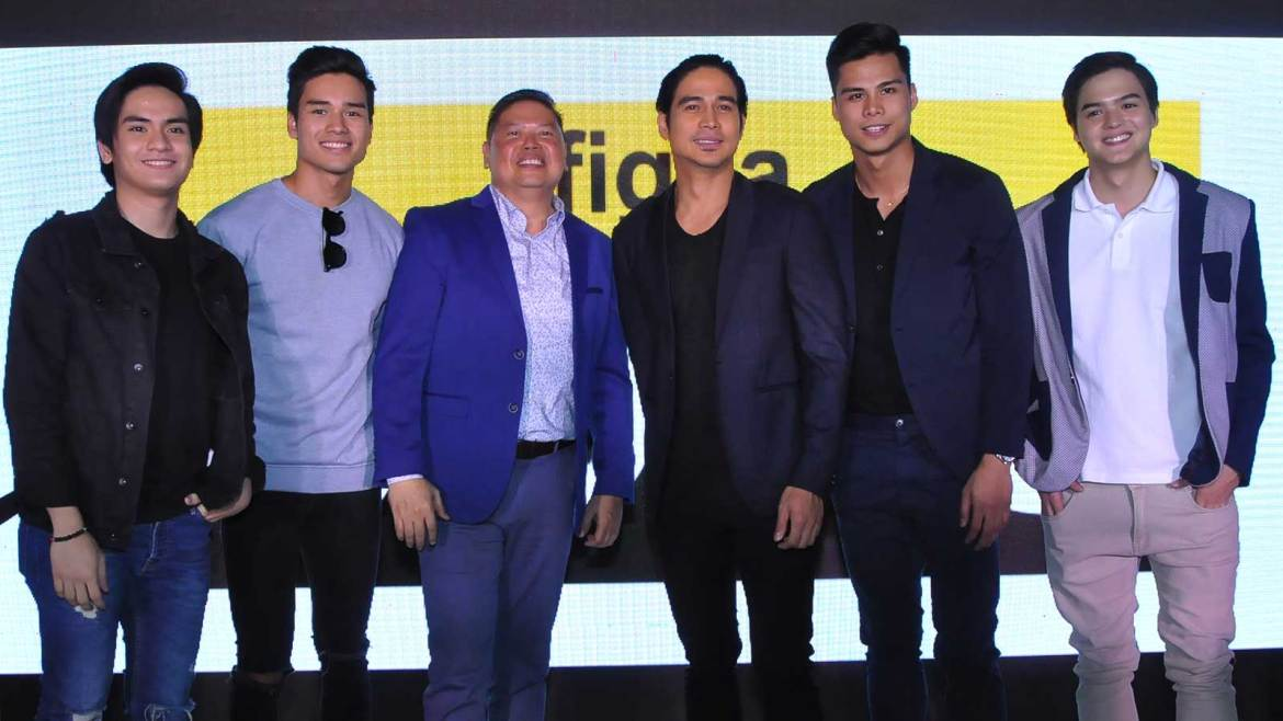 Gracing the launch of Figlia UOMO were (L-R) Jairus Aquino, Marco Gumabao, Figlia president Joey Enriquez, Piolo Pascual John Vic De Guzman and Mark Neumann