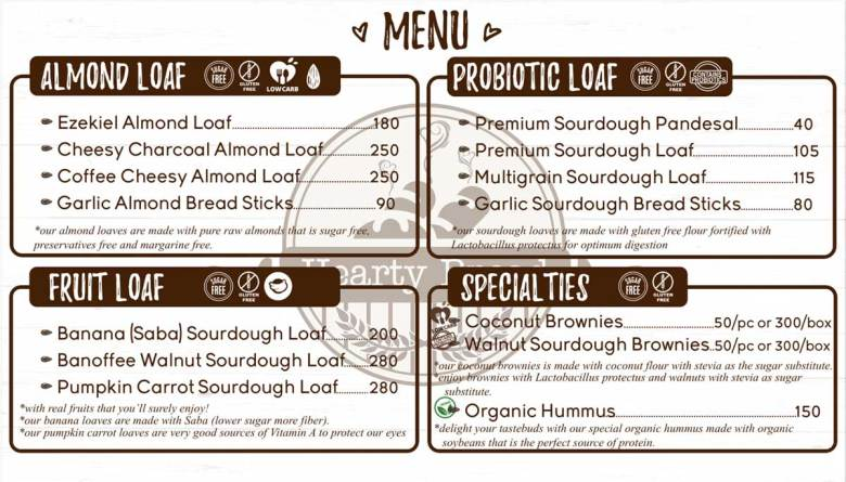 Hearty Bread pricelist