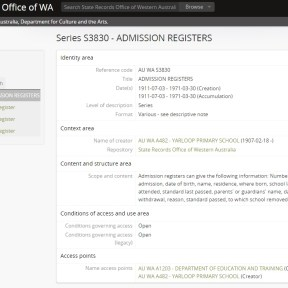Admission registers Yarloop Primary School AU WA S3830 State Records Office of WA