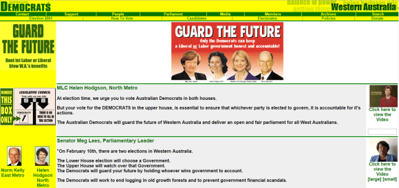 WA Democrats website, 2001