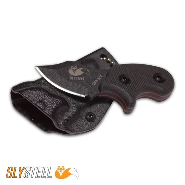 Picture of Final Option Blade (FOB) single edge black G10 handle neck and belt knife for self-defense and everyday carry (EDC)