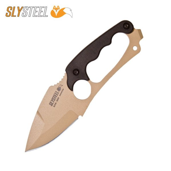 Photo of the Shark Tooth Hunter tan powder coat knife with black G10 scales. Made for survivalists, hunters and campers by SLYSTEEL.