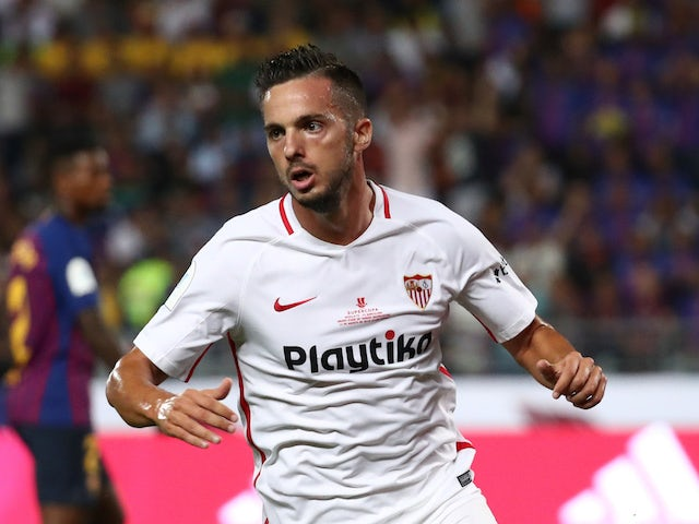Pablo Sarabia celebrates scoring during the Supercopa de Espana between Sevilla and Barcelona on August 12, 2018