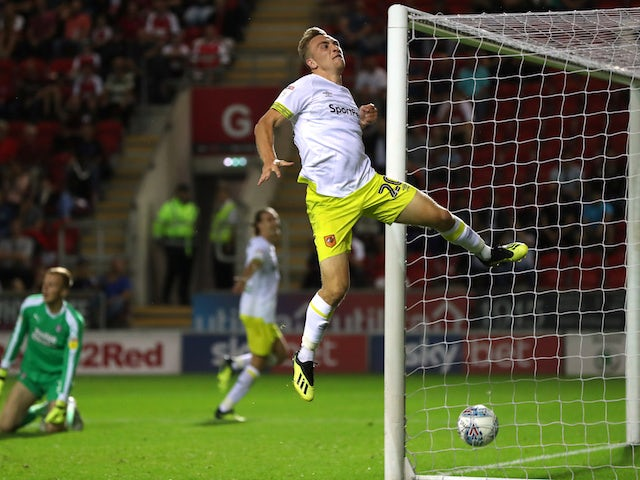 Jarrod Bowen celebrates scoring for Hull City against Rotherham United on August 21, 2018