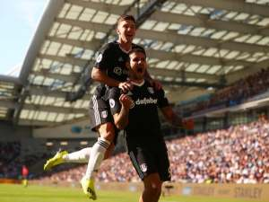 Fulham striker Aleksandar Mitrovic celebrates scoring during his side's Premier League game against Brighton on September 1, 2018