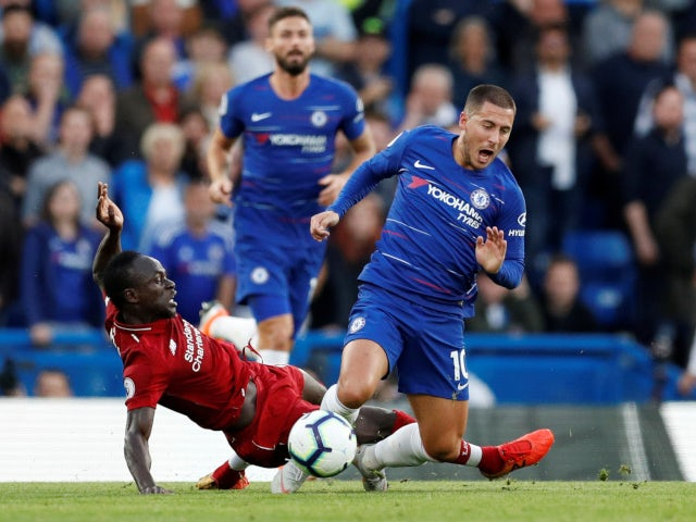 Sadio Mane scythes down Eden Hazard during the Premier League clash between Liverpool and Chelsea on September 29, 2018