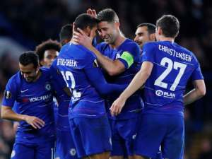 Ruben Loftus-Cheek is joined in celebration by his Chelsea teammates after netting in the 3-1 win over BATE Borisov on October 25, 2018