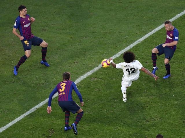 Real Madrid full-back Marcelo scores against Barcelona on October 28, 2018