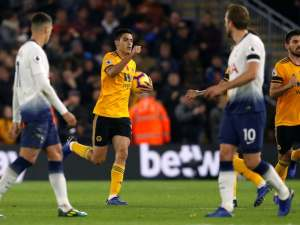 Raul Jimenez celebrates pulling a second goal back for Wolverhampton Wanderers in their defeat to Tottenham Hotspur on November 3, 2018