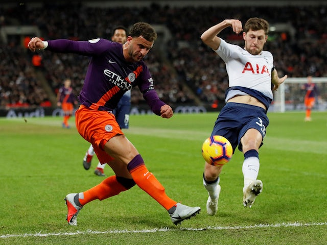 Kyle Walker and Ben Davies in action during the Premier League game between Tottenham Hotspur and Manchester City on October 29, 2018