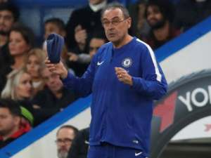 Maurizio Sarri on the touchline during the Premier League game between Chelsea and Crystal Palace on November 4, 2018