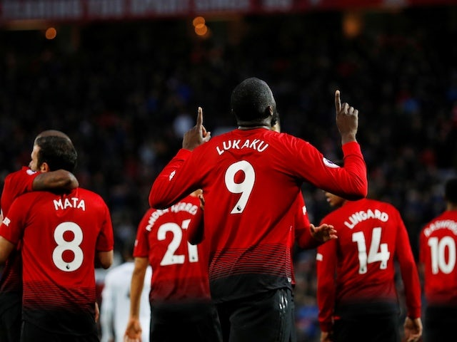 Manchester United's Romelu Lukaku celebrates after scoring against Fulham on December 8, 2018