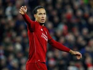 Virgil van Dijk in action for Liverpool on 19 January 2019