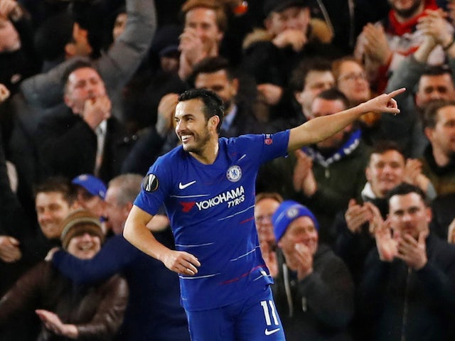 Pedro celebrates scoring for Chelsea against Dynamo Kiev in the Europa League on March 7, 2019