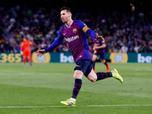 Barcelona forward Lionel Messi celebrates scoring against Real Betis on March 17, 2019