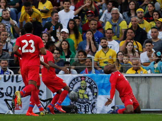 Panama's Adolfo Machado celebrates scoring his side's equaliser against Brazil on March 23, 2019