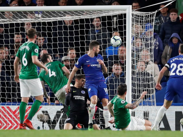 Chelsea's Olivier Giroud scores against Brighton & Hove Albion in the Premier League on April 3, 2019.