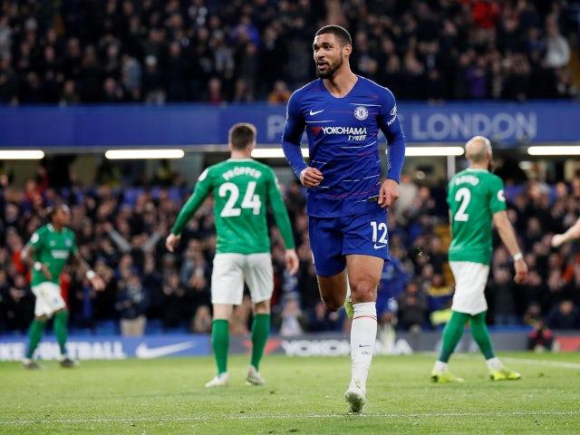 Chelsea's Ruben Loftus-Cheek celebrates scoring against Brighton & Hove Albion in the Premier League on April 3, 2019.