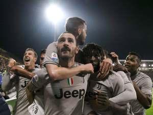 Juventus' Leonardo Bonucci celebrates scoring their first goal against Cagliari with teammates on April 2, 2019
