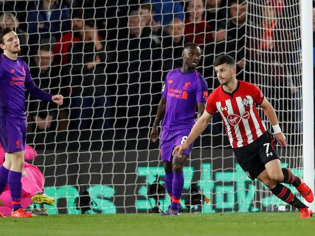 Southampton forward Shane Long celebrates scoring against Liverpool on April 5, 2019