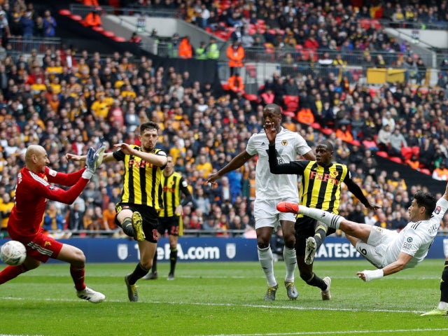 Raul Jimenez scores Wolverhampton Wanderers' second goal against Watford on April 7, 2019