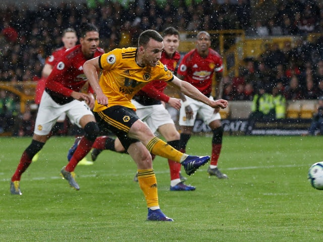 Wolverhampton Wanderers' Diogo Jota nets against Manchester United in the Premier League on April 2, 2019.