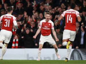 Aaron Ramsey celebrates after opening the scoring for Arsenal in their Europa League meeting with Napoli on April 11, 2019