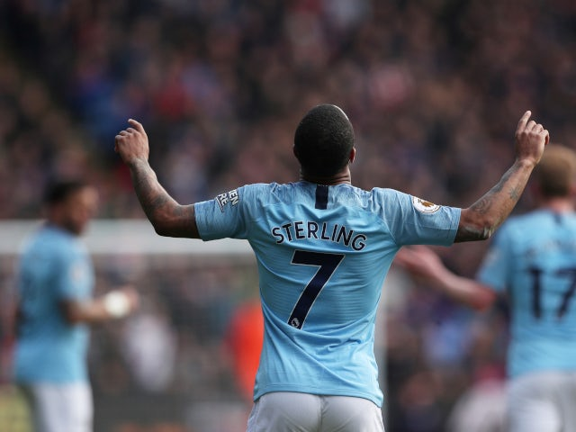 Raheem Sterling celebrates scoring for Manchester City against Crystal Palace in the Premier League on April 14, 2019.