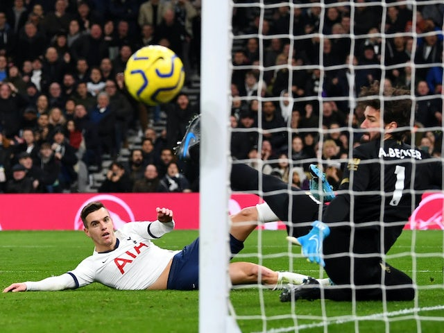 Giovani Lo Celso has a missed shot at goal during the Premier League game between Tottenham Hotspur and Liverpool on January 11, 2020