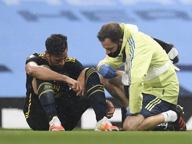 Arsenal defender Pablo Mari lies injured against Man City on June 17, 2020